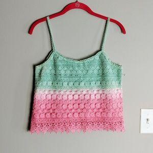 En Creme Green Pink Ombre Crochet Crop Tank Small